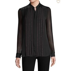 Elie Tahari Pleated Button-Down Silk Blouse